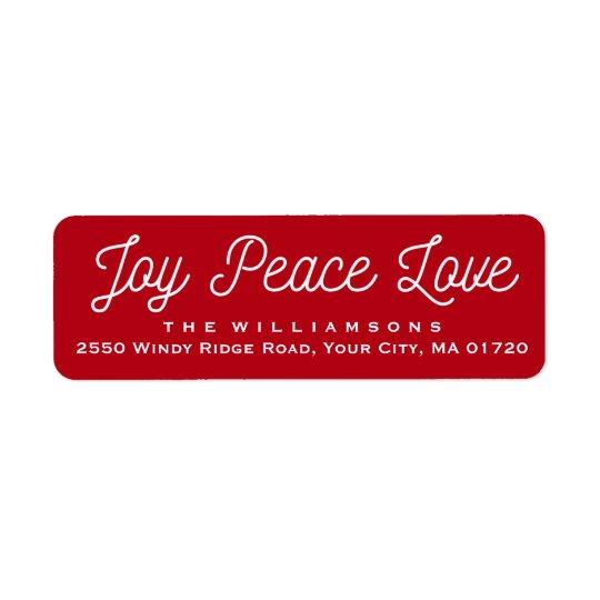 クリスマスの喜びの平和愛カスタムな赤 ラベル