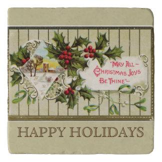 クリスマスの喜びの幸せな休日石造りのTrivets トリベット