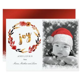 クリスマスの喜びの水彩画のリースID292 カード