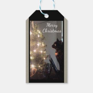 クリスマスの喜びの茶色のぶち猫のクリスマスのギフトのラベル ギフトタグ