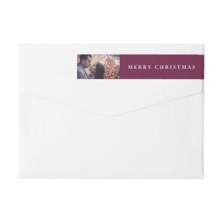 クリスマスの喜び|紫色のあなたの写真 ラップアラウンドラベル