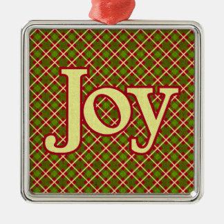 クリスマスの喜び-織られる格子縞 メタルオーナメント