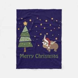 クリスマスの夜のサンタのヤク フリースブランケット