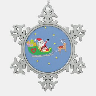 クリスマスの夜のサンタクロース スノーフレークピューターオーナメント