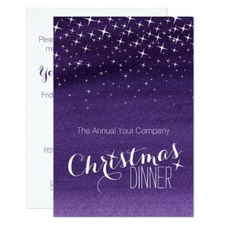 クリスマスの夜の空はパーティの招待状の紫色を主演します カード