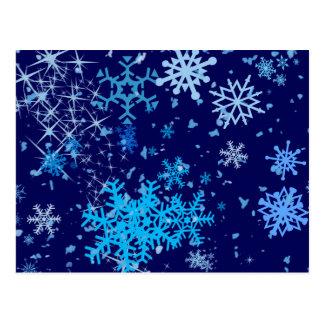 クリスマスの夜の降雪 ポストカード
