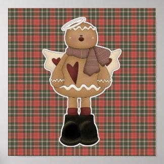 クリスマスの天使のジンジャーブレッドマン ポスター