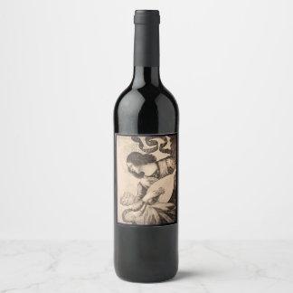 クリスマスの天使のセピア色のワインのラベル ワインラベル