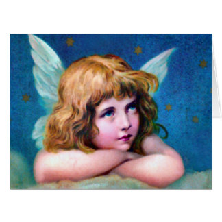クリスマスの天使のビクトリアンで大きい挨拶状 カード
