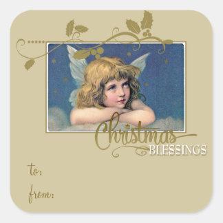 クリスマスの天使の恵みのギフトのラベルに出入する スクエアシール