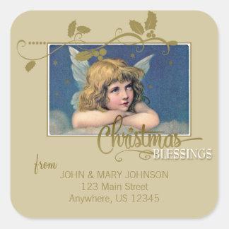 クリスマスの天使の恵みの宛名ラベル スクエアシール