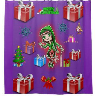クリスマスの女の子の小妖精や小人の子供のシャワー・カーテン シャワーカーテン