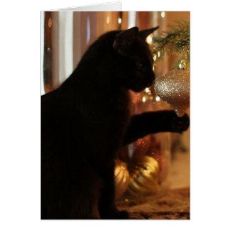 クリスマスの子ネコのノート、黒猫または金ゴールドのオーナメント カード