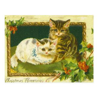 クリスマスの子ネコのヴィンテージの郵便はがき ポストカード
