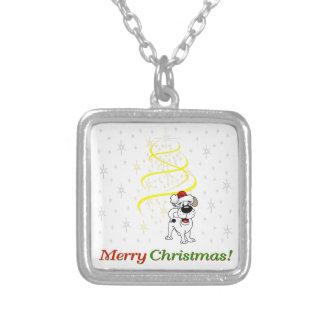 クリスマスの子犬 シルバープレートネックレス