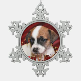 クリスマスの子犬 スノーフレークピューターオーナメント