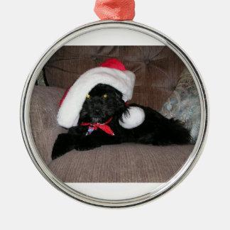 クリスマスの子犬 メタルオーナメント