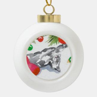 クリスマスの子猫猫の木の装飾の休日のおもしろい セラミックボールオーナメント