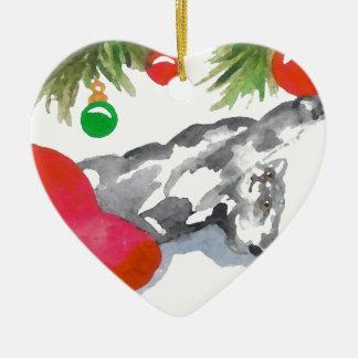 クリスマスの子猫猫の木の装飾の休日のハート セラミックオーナメント