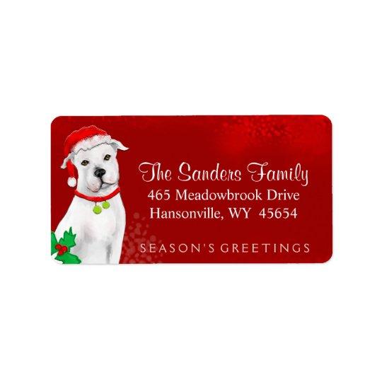クリスマスの宛名ラベル-白いピットブル-赤 宛名ラベル