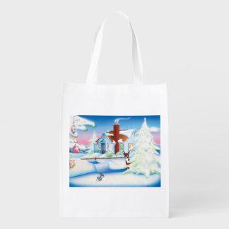 クリスマスの家のエコバッグ エコバッグ