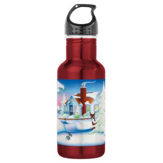 クリスマスの家: 赤いボトル(18のoz) ウォーターボトル