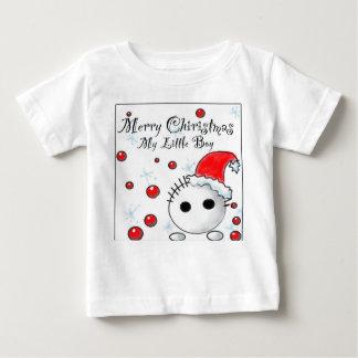 クリスマスの小さい男の子のギフト ベビーTシャツ
