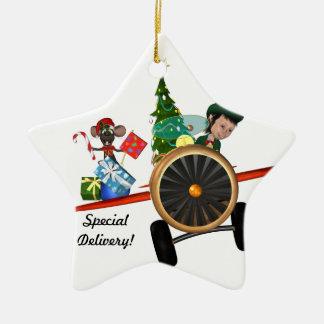 クリスマスの小妖精や小人のオーナメント 陶器製星型オーナメント