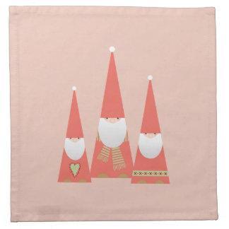 クリスマスの小妖精や小人の布のナプキン(ピンク) ナプキンクロス