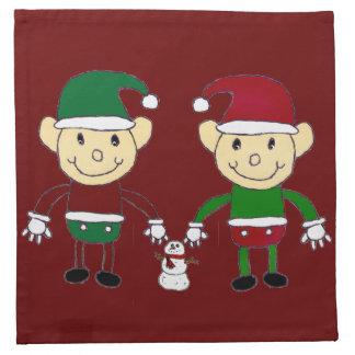 クリスマスの小妖精や小人 ナプキンクロス