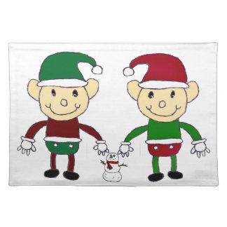 クリスマスの小妖精や小人 ランチョンマット