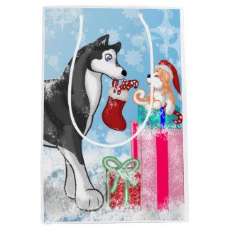 クリスマスの小犬! ミディアムペーパーバッグ