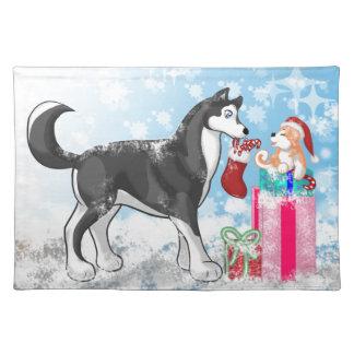 クリスマスの小犬! ランチョンマット