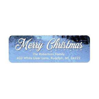 クリスマスの差出人住所ラベルのSnowy日 ラベル