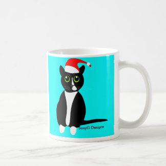 クリスマスの帽子のマグのタキシード猫 コーヒーマグカップ