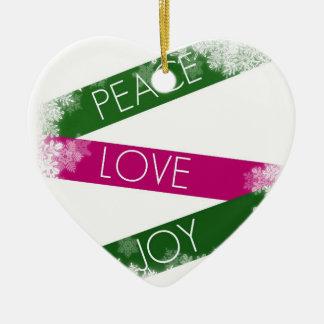 クリスマスの平和、愛、喜びのハートのオーナメント セラミックオーナメント