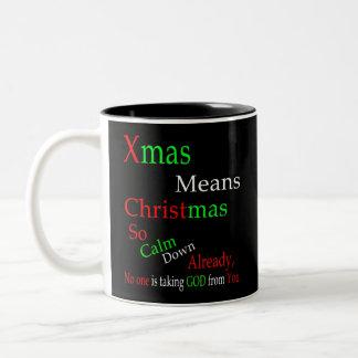 クリスマスの平均のクリスマス ツートーンマグカップ