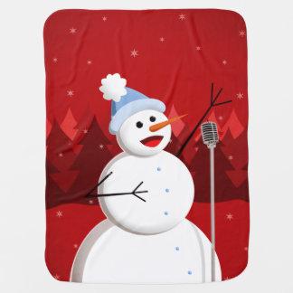 クリスマスの幸せな歌う雪だるま ベビー ブランケット