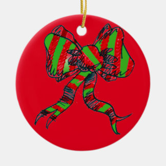 クリスマスの弓オーナメント セラミックオーナメント