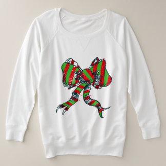 クリスマスの弓スエットシャツ-女性のための… プラスサイズスウェットシャツ