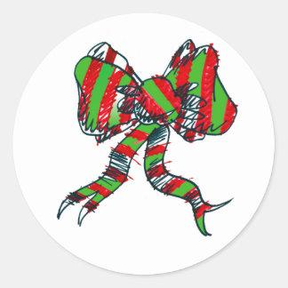 クリスマスの弓ステッカー ラウンドシール