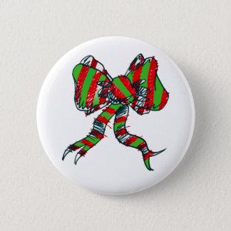 クリスマスの弓Pin 5.7cm 丸型バッジ