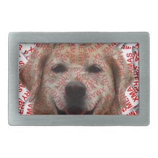 クリスマスの微笑のゴールデン・リトリーバー犬 長方形ベルトバックル