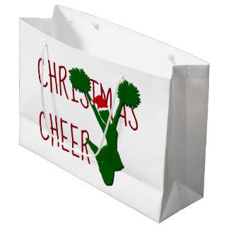 クリスマスの応援のチアリーダーの休日の精神 ラージペーパーバッグ