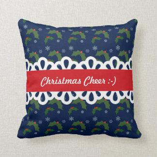 クリスマスの応援のヒイラギの果実パターン クッション