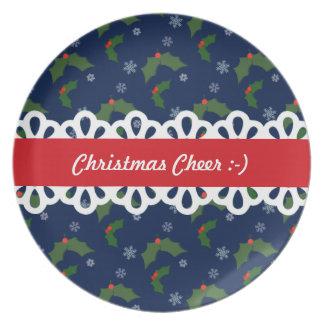 クリスマスの応援のヒイラギの果実パターン プレート