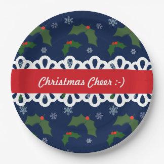クリスマスの応援のヒイラギの果実パターン ペーパープレート