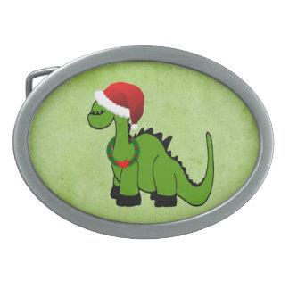 クリスマスの恐竜 卵形バックル
