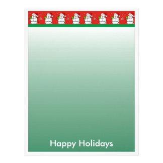クリスマスの手紙紙-雪だるまのボーダー レターヘッド