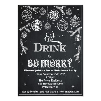クリスマスの招待状は、飲み物を食べ、メリーです 12.7 X 17.8 インビテーションカード